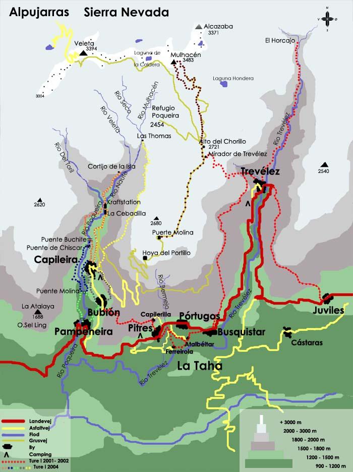 Kort Over La Alpujarra Sierre Nevada Inspiration Til Vandreture